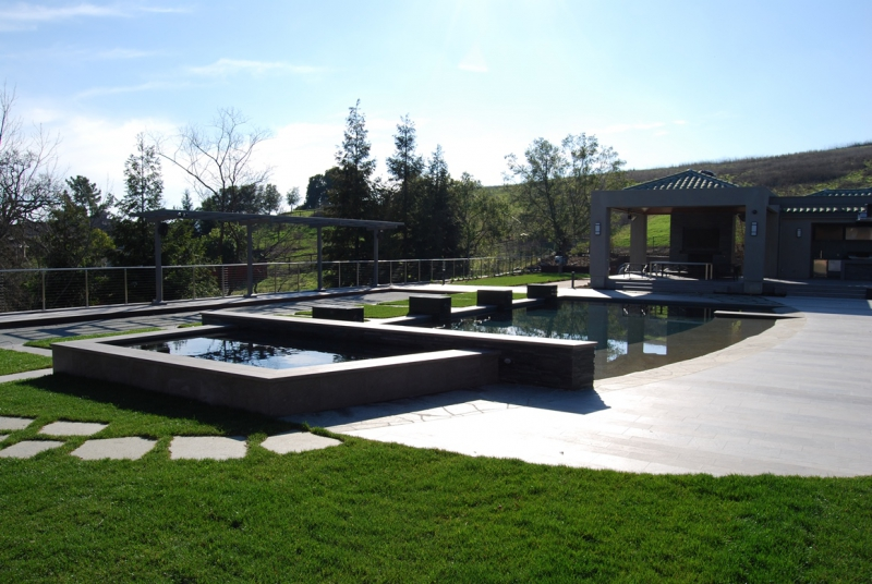 Danville Swimming Pool and Spa Design with Cabana