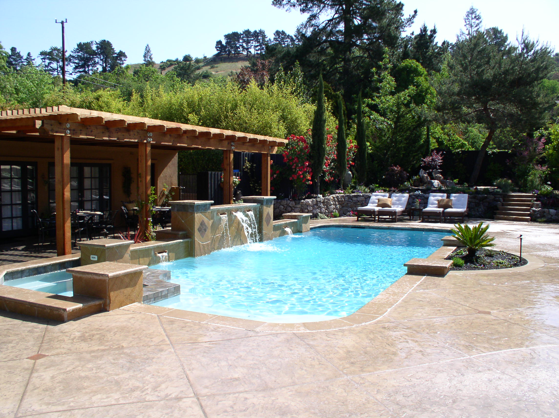 Swimming pool and backyard design Danville