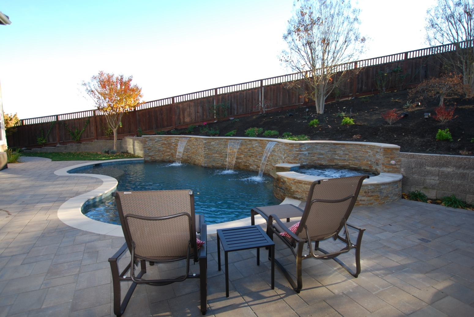 Pool with concrete and landscaping for a home in walnut creek for Swimming pool contractors san francisco bay area