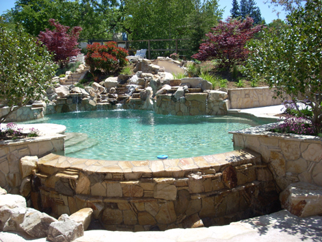 Swimming pool infinity edge construction 100