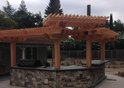 BBQ Outdoor Kitchen and Arbor Design in Danville
