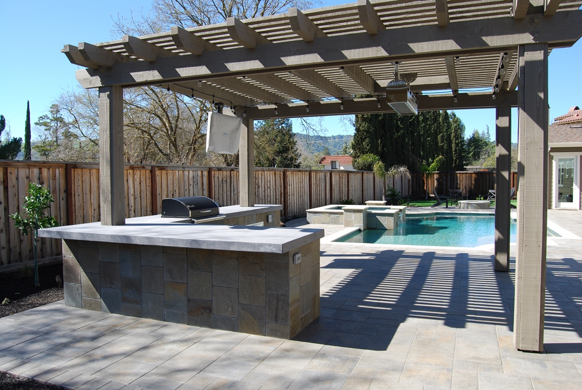 Pool Arbor And Outdoor Kitchen Bbq In Danville By Hawkins